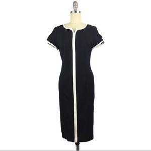 Talbots Dress 4 Sheath Color Block Short Sleeve